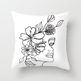 Floral Woman Profile Throw Pillow