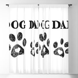 Paw print with hearts. Dog dad text. Happy Father's Day background Blackout Curtain