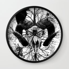 Wings and Horns of Death Wall Clock