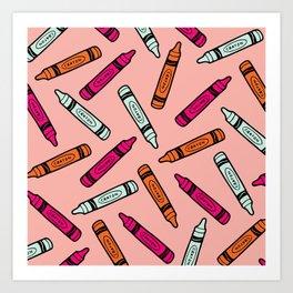 Crayons on Pink Pattern Art Print