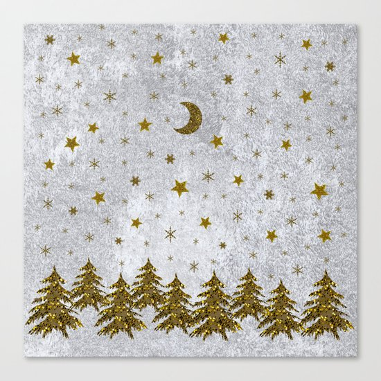 Sparkly Christmas tree, stars, moons on abstract paper Canvas Print