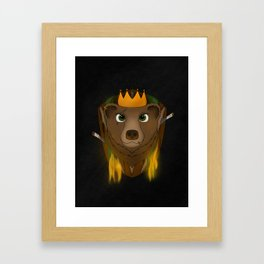 """The Warlord Bear"" Black Textured Background Framed Art Print"