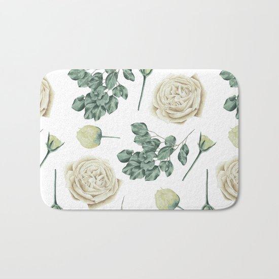 Flower Shop Ivory Cream Roses Pattern Bath Mat