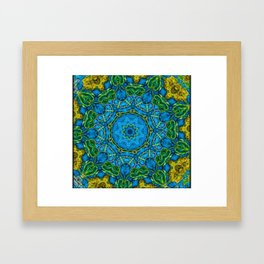 Lovely Healing Mandalas in Brilliant Colors: Blue, Gold, and Green Framed Art Print