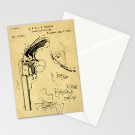Revolving Fire Arm Support Patent Drawing From 1885 Stationery Cards