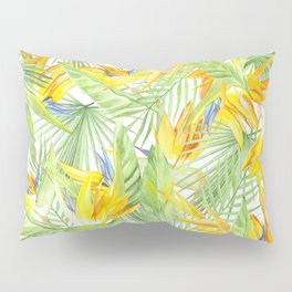 watercolor pattern tropical leaves and flowers bird of paradise Pillow Sham