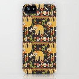 Geometric Sloth Pattern iPhone Case