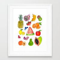 fruits Framed Art Prints featuring FRUITS by Shannon Kirsten