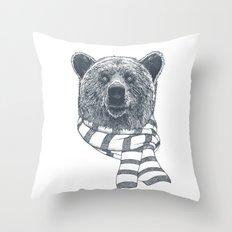 Winter Bear Drawing Throw Pillow