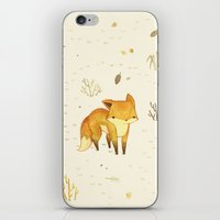 heart iPhone & iPod Skins featuring Lonely Winter Fox by Teagan White