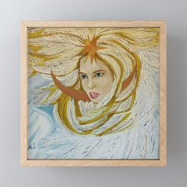 The Princess-Swan from the Russian fairytale (oil painting). Framed Mini Art Print