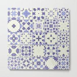 Flower Bell Azulejos Metal Print