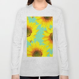 Sunflowers on a pastel green backgrond  Long Sleeve T-shirt