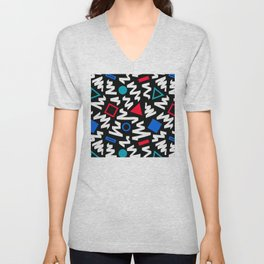 1990's Circles, Triangles, & Squares Colorful Pattern Unisex V-Neck