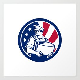 American Artisan Cheese Maker USA Flag Icon Art Print