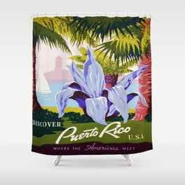Vintage poster - Puerto Rico Shower Curtain