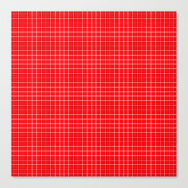 Red Grid White Line Canvas Print