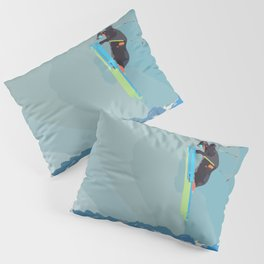 Man on skis, sky jumping, with mountains and blue sky on the backgound Pillow Sham