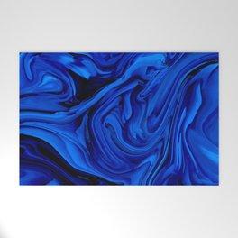 Blue Liquid Marbled texture Welcome Mat