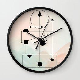 Geometric Scandinavian Design Pastel Colors Wall Clock