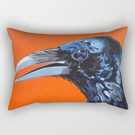 Orange Crow Rectangular Pillow