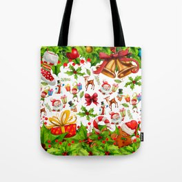 Holiday festive red green holly Christmas pattern Tote Bag