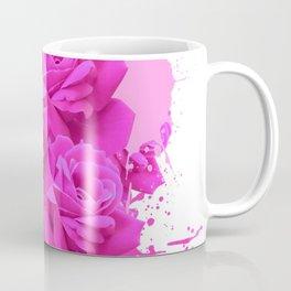 CERISE PINK ROSE PATTERN WATERCOLOR SPLATTER Coffee Mug