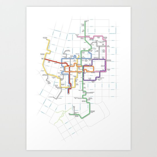 Minneapolis Skyway Map Art Print