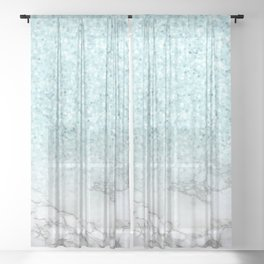 Pretty Turquoise Marble Sparkle Sheer Curtain