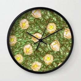 white hibiscus in bush Wall Clock