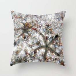 Starfish and Seashells by Barbara Chichester Paintographer Throw Pillow