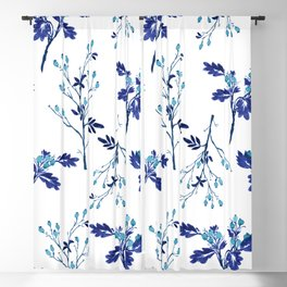 Winter Blue Berries Pattern Blackout Curtain
