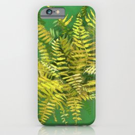 Golden Fern, Floral Painting Green Yellow  iPhone Case