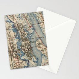 Vintage Map of St. Augustine Florida (1937) Stationery Cards