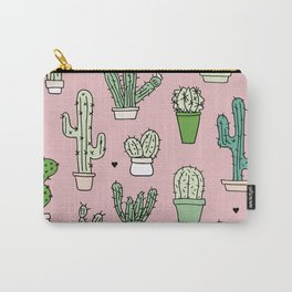 Pastel pink cactus home garden botanical summer pattern Carry-All Pouch
