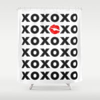 xoxo Shower Curtains featuring XOXO by DuniStudioDesign