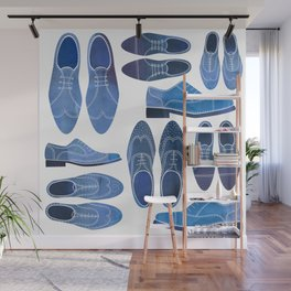 Blue Brogue Shoes Wall Mural