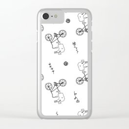 chicken on a bike pattern Clear iPhone Case