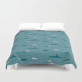 Lobstering in the Harbor Duvet Cover