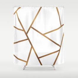 White and Gold Fragments - Geometric Design Shower Curtain