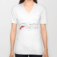 hello V-neck T-shirts featuring Hello by Mario Stipetic