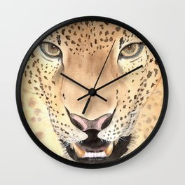 Leopard Portrait, Watercolour art Wall Clock
