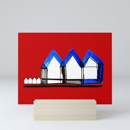 Houses in Blue No.: 02 on Red Board Mini Art Print