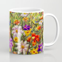 BUY PAINTING SUMMER FLORAL MULTICOLORED FLOWER FIELD - ORIGINAL OIL PAINTING Coffee Mug