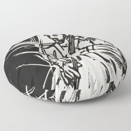 Bossa Pizzicato Jazz Bassist Black and White Block Print Floor Pillow