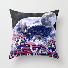 Space Mushroom Throw Pillow