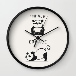 Inhale Exhale Panda Wall Clock