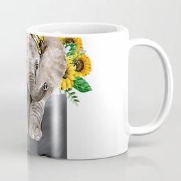 Sunflower Elephant In Pocket Tshirt Elephant Lover Gifts T-Shirt Coffee Mug