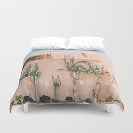 Pink House With Cactus Duvet Cover