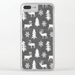 Winter Forest on Dark Linen Clear iPhone Case